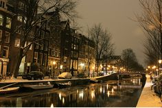 Amsterdam, lovely in winter too:  http://www.beyond-london-travel.com/London_to_Amsterdam.html