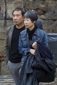Haruki Murakami and his wife Yoko
