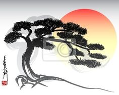 Illustration about Vector illustration of oriental bonsai tree. Illustration of floral, outline, scroll - 5441210 Tree Sillouette, Bonsai Making, Familie Symbol, Bonsai Tree Tattoos, Tree Information, Tree Faces, Japanese Artwork, Aztec Art, Tree Art