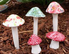 Three medium ceramic mushrooms and two toadstools by FabulousFungi on Etsy