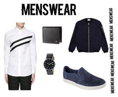 """Clean cut blue"" by honey-melll ❤ liked on Polyvore featuring Neil Barrett, Skechers, Libertine-Libertine, Skagen, men's fashion, menswear, clean and slipons"