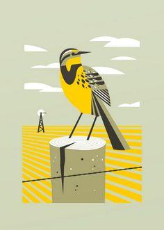 Meadowlark art print by Bee Things #screenprint