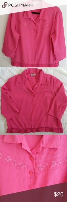 "Vintage Pink Blouse Condition: excellent. Pit to Pit: 23 3/4"" Length: 23 3/4"". No modeling or trades. 23. Vintage Tops Blouses"