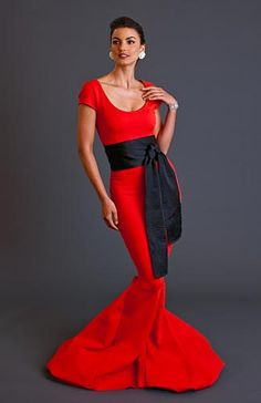 Karen Caldwell Design, Veronica II Dramatic evening gown, with scooped neck, fitted waist, with billowing fabric bottom. Shown in poppy red Love Fashion, High Fashion, Fashion Beauty, Fashion Show, Fashion Looks, Fashion Outfits, Fashion Design, Female Fashion, Fashion Art