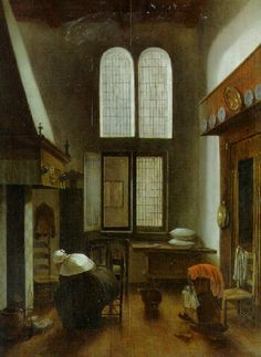 Jacobus Vrel AN INTERIOR OF A HOUSE WITH A SEATED WOMAN