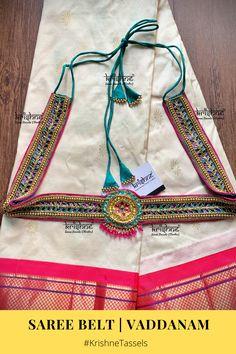Saree Belt, Saree With Belt, Saree Blouse, Long Kurta Designs, Lehenga Pattern, Saree Tassels Designs, Work Belt, Maggam Work Designs, Waist Belts