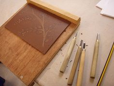 Cutting the lino - first cut by ruthsinger, via Flickr