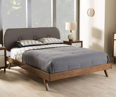 Make your bedroom feel like new with the Baxton Studio Penelope Mid-Century Modern Solid Walnut Fabric Upholstered Platform Bed . This low platform bed. Queen Size Platform Bed, Modern Platform Bed, Bed Platform, Upholstered Platform Bed King, Apartment Decoration, Modern Apartment Decor, Modern Bunk Beds, Modern Bedrooms, Mid Century Bedroom