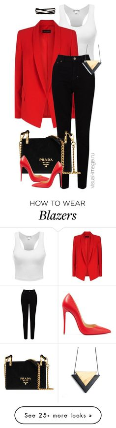 Red jacket by visual-image on Polyvore featuring ESCADA, EAST, Kenneth Jay Lane, Prada and Christian Louboutin
