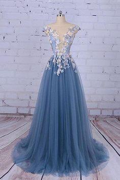 Blue Tulle Long Unique Prom Gowns, Floral Appliqued Party Dresses,Tulle Evening Dress,Elegant Party Dresses