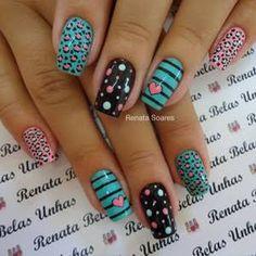 Resultado de imagem para unhas decoradas Colorful Nail Designs, Nail Art Designs, Hair And Nails, My Nails, Leopard Print Nails, Leopard Prints, Nail Art For Kids, Claw Nails, Gel Acrylic Nails