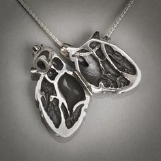 Sterling Silver Anatomical Human Heart Locket (Designed/produced by Peggy Skemp -  Photo by R. Hanel)