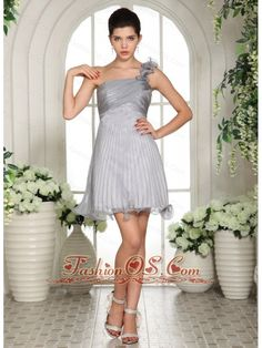 Gray Empire One Shoulder 2013 Dama Dresses for Quinceanera With Ruch Organza  http://www.fashionos.com  discount prom dress | junior prom party dress | custom made prom formal dress | elegant prom graduation dress | summer collection | online dress store on sale | high end low price | 2014 prom dress | fairy tales dress | where you can order prom dress |