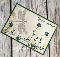 Beautiful Bouquet & Dragonfly Dreams stamp sets with Wood Textures DSP by Kate Morgan, Independent Stampin Up Demonstrator Australia