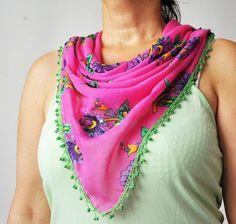 Paillette decorated crochet bias tape cotton by Citipitishop, $20.00