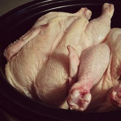 2 Whole Chickens in the Crockpot | You're going to think I'm horribly simple when I tell you what I do to cook chickens. This is definitely not gourmet. This method is so simple and handy -- it requires almost no effort but yields tender, juicy, fall-off-the-bone chicken for sandwiches, soups, casseroles, and skillet dishes. It results in a good amount of chicken (because I cook 2 at a time) to put away for future meals. | GNOWFGLINS.com