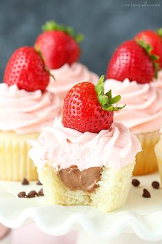These Neapolitan Cupcakes are made with a vanilla cupcake, chocolate mousse filling and strawberry frosting! The flavors are so perfectly balanced – I love them! So as I write this, the hubs is sitting next to me doing his live fantasy football draft. The amount of stress he is exhibiting is straight crazy. It's intense. …