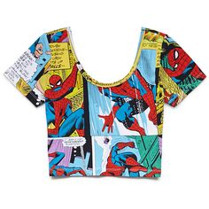 Forever 21 Women's  Spiderman Comic Crop Top ($9.99) ❤ liked on Polyvore featuring tops, shirts, crop tops, t-shirts, crop shirt, long-sleeve crop tops, scoop neck crop top, crop top and sleeve shirt