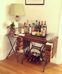 Bar cart from vintage Singer sewing table More