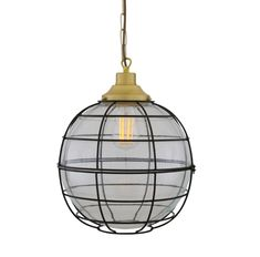 The Hudson is a large glass globe pendant light that is enclosed inside a black metal cage. This cage glass pendant measures 32cm in diameter.