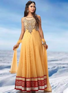 Enamouring yellow net ankle length anarkali
