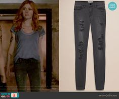 Clary's grey ripped jeans on Shadowhunters.  Outfit Details: https://wornontv.net/65174/ #Shadowhunters