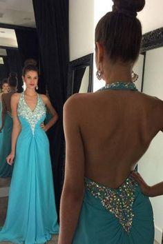 Elegant Light Blue Prom Dresses,Chiffon Prom Gowns,High-Neck Prom Dresses,Backless Prom Dresses,Long Prom Dresses,Classy Prom Dresses