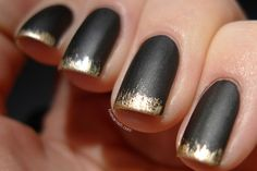 El Corazon 124 Matte Effect + China Glaze 2030 - use an almost dry brush to create the gold effect