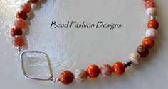 Fire Crackle Agate Sterling Silver Geometric by BeadFashionDesigns