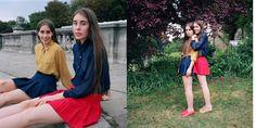 Julia and Olivia wearing the Chiffon Oversized Button-Up, Tennis Skirt and Bobby Leather Lace-Up Shoe. #Fall #chiffon #tennisskirt