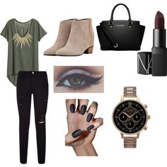 A fashion look from December 2015 by deviniamalone featuring H&M, Frame Denim, Golden Goose, MICHAEL Michael Kors, Olivia Burton, Alexis Bittar and NARS Cosmetics
