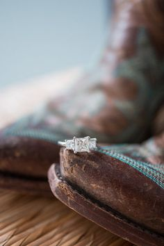 engagement rings and cowboy boots...super cute but I'd go bare foot or on work boots :)
