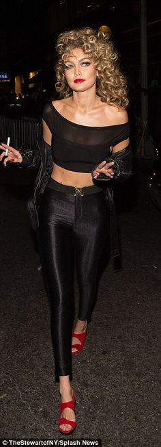gigi hadid wears shiny leggings and crop top after sandy costume - Greece Halloween Costumes