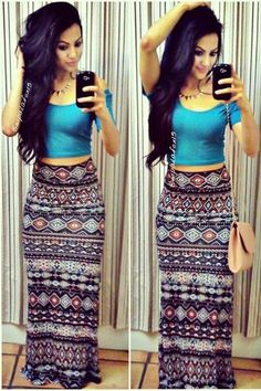 Bohemian Style Scoop Neck Short Sleeve Solid Color T-Shirt + Printed Skirt Twinset For Women