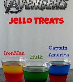 Superhero Party Treats - These Jelly treats are a perfect addition to your Avenger themed party. This tutorial features Hulk, Captain America and Iron Man jelly treats.