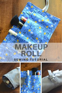 SEWING TUTORIAL: How to Make a Makeup Roll. Learn how to make a fun project with this step by step picture sewing tutorial and pattern information!