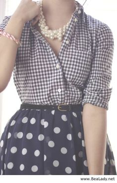 Love the mixed prints- i also like plaid tops and skirts and this looks good together