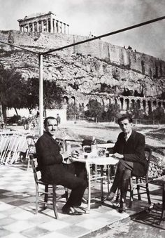 Greece Nikos Kazantzakis and Romanian writer Panait Istrati, under the Acropolis Greece Pictures, Old Pictures, Old Photos, Vintage Photos, Greece History, Modern History, Athens Greece, Ancient Greece, Crete