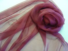 Chiffonschal 180x55cm bordeaux Seide  von Textilkreativhof auf DaWanda.com