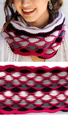 Free Knitting Pattern for Roulette Chic Cowl- This long colorful cowl features a diamond stitch pattern. The cowl is 50″ long and pictured wrapped around the neck but you could also wear it unwrapped as an infinity scarf, I think. Designed by Marly Bird for Red Heart.
