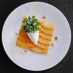 Beautiful peach dessert with rose sorbet. ✅ By - @ronnyemborg ✅ #ChefsOfInstagram