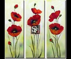 Hand Painted Oil Painting Floral Red Flower with Stretched Frame Set of 3 – USD… Oil Painting Flowers, Watercolor Flowers, Watercolor Paintings, Silk Painting, Pictures To Paint, Art Pictures, Acrylic Art, Flower Art, Canvas Wall Art