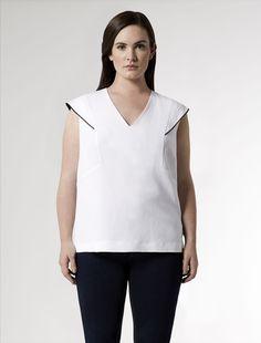 Marina Rinaldi plus size BASTIA white: Linen tunic with winged shoulders.