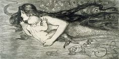 """Amelia Bauerle (Bowerley) (1873 – 1916), """"Mermaid swimming with a child"""""""