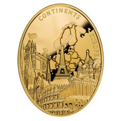 """Niue """"Europe"""" Continents Series $100 Gold Coin 2013 Oval Shape Proof 3 oz."""