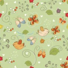 padrão flores e pássaros