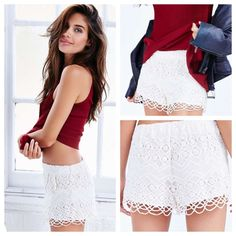 """Urban Outfitters Ecote Mara Lace Runner Shorts Short little lace shorts from Urban Outfitters bohemian Ecote collection. Cut with a high rise and pull-on fit with a soft lining.  Size medium.  Content + Care - Cotton  - Machine wash - Imported  Size + Fit  - Model is 5'9"""" and wearing size Small - Measurements taken from size Medium - Rise: 10.5"""" - Inseam: 1.75"""" - Leg opening: 13.5"""" Urban Outfitters Shorts"""