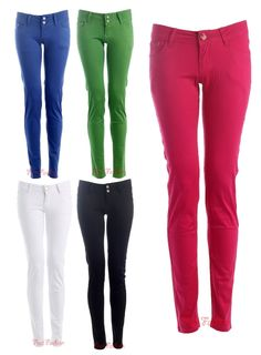 Womens Skinny Candy Colour Trousers Jeans / Size 6-14 - £15.99