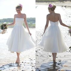 2015 Summer Beach Wedding Dress Short Strapless Tea Length Pleats Cool Chiffon Cheap Bridal Gowns Beach Gowns Under 100 Bo7798 A Line Bridal Gowns A Line Formal Dresses From Topdresses, $87.96| Dhgate.Com
