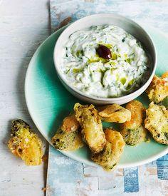 Australian Gourmet Traveller recipe for tzatziki with zucchini fritters.